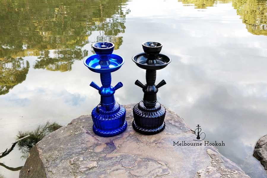 2-Hose-Shisha Blue & Black